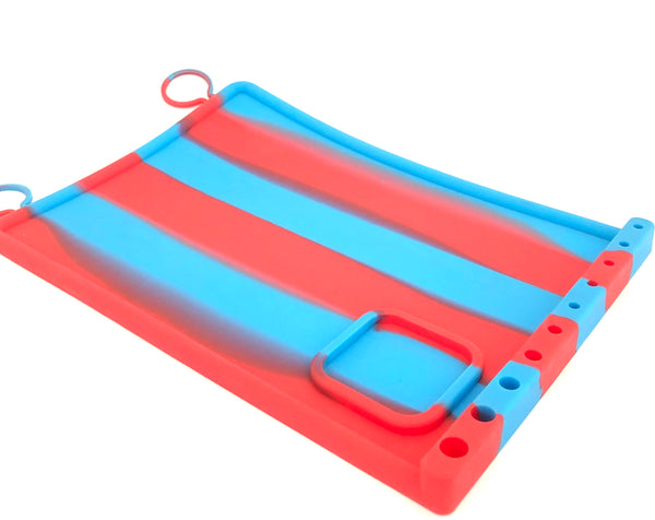 "Silicone Dab Mat - 11"" x 8"" with Holders"