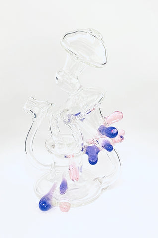 Clear Recycler Pink/Purple Attachment 10mm Female by Goolen Glass