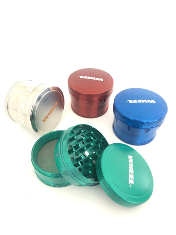 Wheel Brand Large 4 piece Ergonomic Metal Grinder- Assorted design and colours