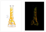 "10"" Nice Glass Glow in the Dark Serpent and Tree Beaker"