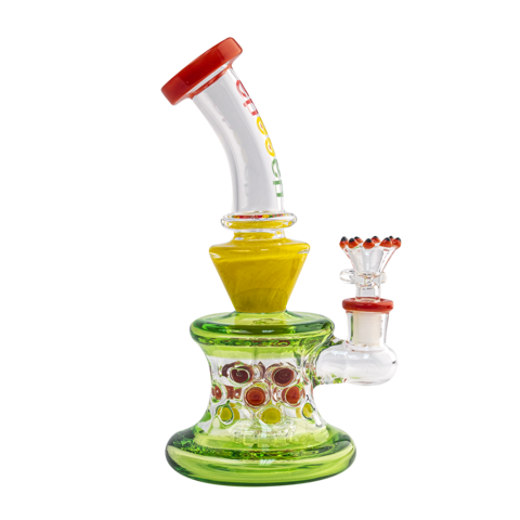 "Cheech Glass 7"" Stemless Rasta Colored Rig with Tire Perc"