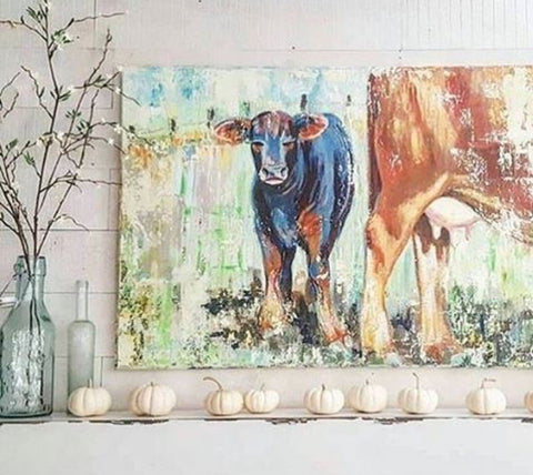 baby calf and momma interior decorator installation
