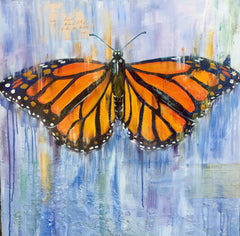 monarch butterfly painting sophie dare contemporary realism texture plaster art