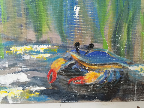 underwater blue crab painting