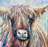 scottish highland cow roan painting