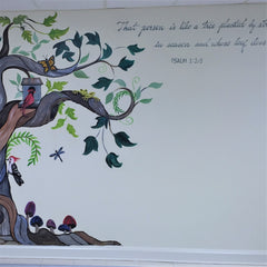 hand-painted calligraphy in church