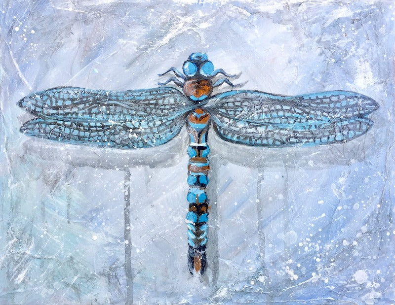 dragonfly painting in grey with impressionist drips by sophie dare