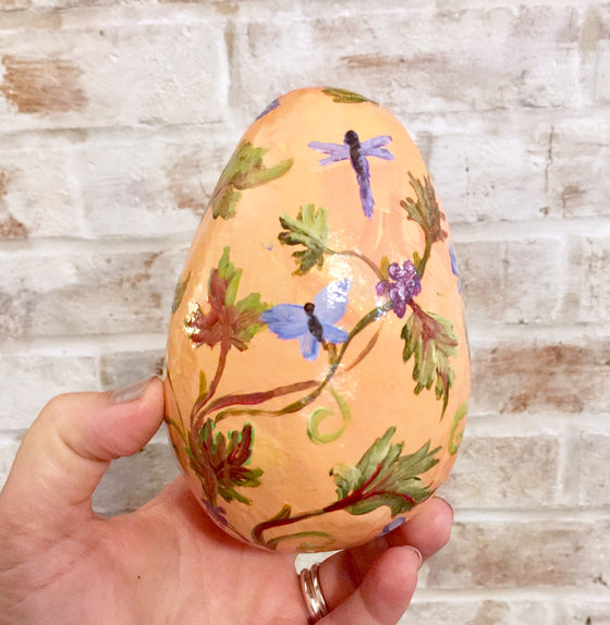 Hand-Painted Egg Grapevine Toile
