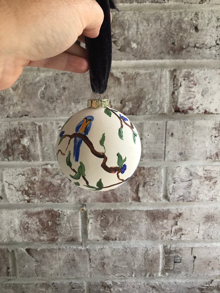 Blue Bird Ball Ornament