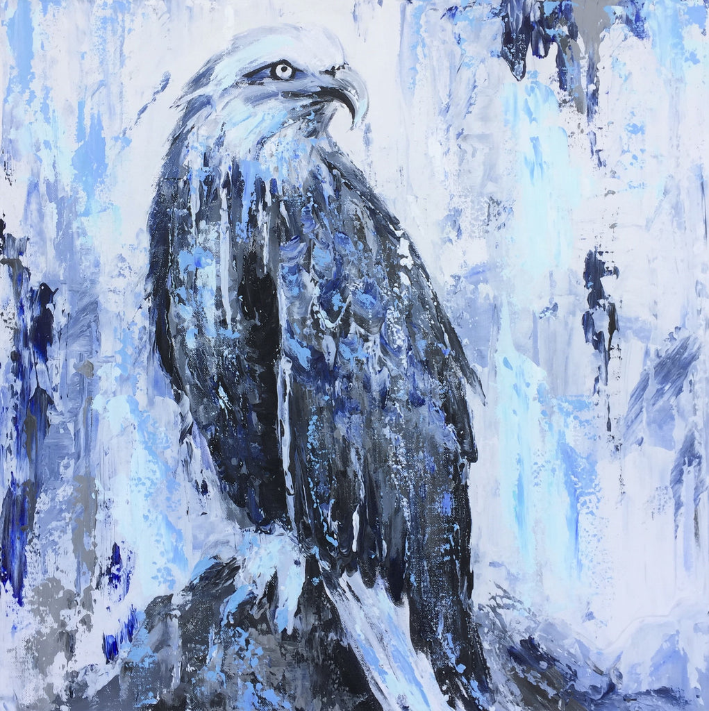 american eagle indigo tones impressionist painting by sophie dare