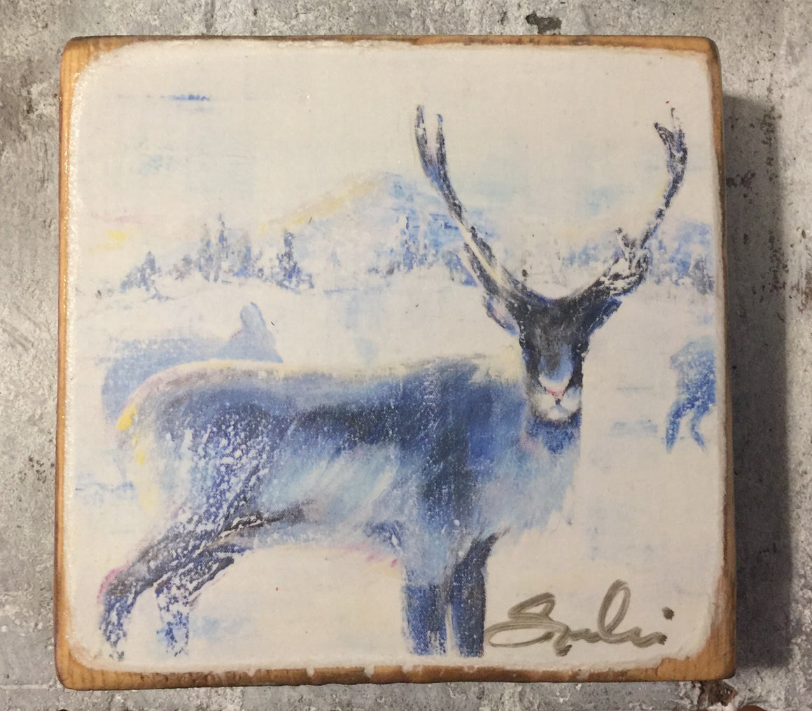 Caribou Deer Wood Block