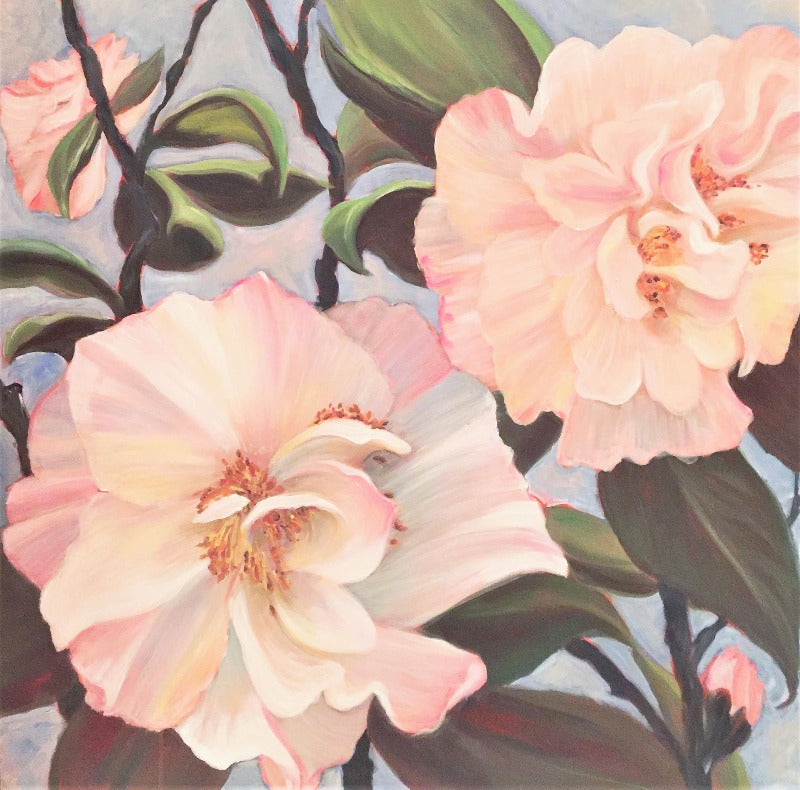 camelia original art botanical painting by sophie dare