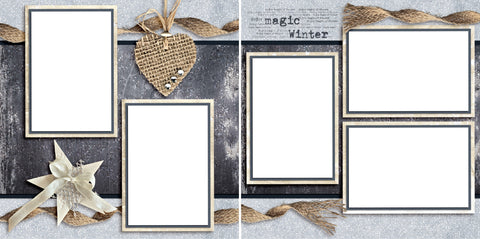 Magic Winter - Digital Scrapbook Pages - INSTANT DOWNLOAD