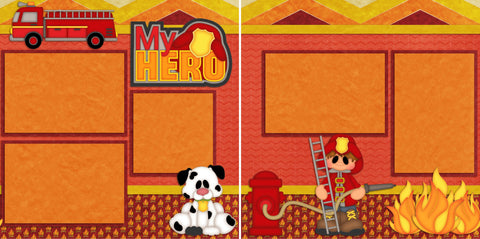 Fireman - 868 - EZscrapbooks Scrapbook Layouts Boys, Halloween, Kids, Outside Play