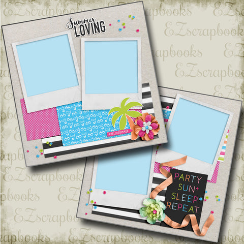 Party Sun Sleep - 4696 - EZscrapbooks Scrapbook Layouts Beach - Tropical, Summer