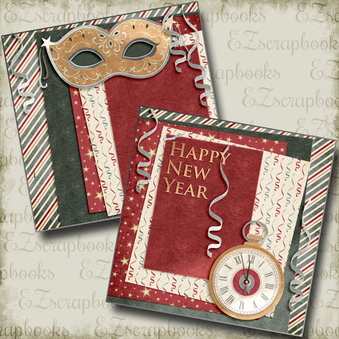 Happy New Year Red NPM - 4561 - EZscrapbooks Scrapbook Layouts New Year's