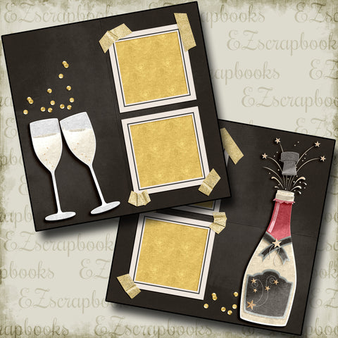 Pop the Bubbly - 4554 - EZscrapbooks Scrapbook Layouts New Year's