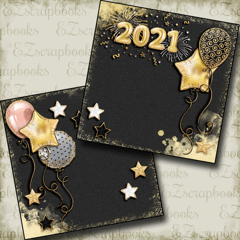 New Years Balloons 2021 NPM - 5223 - EZscrapbooks Scrapbook Layouts Birthday, New Year's, Other