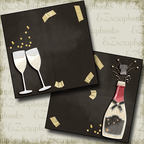 Pop the Bubbly NPM - 4555 - EZscrapbooks Scrapbook Layouts New Year's