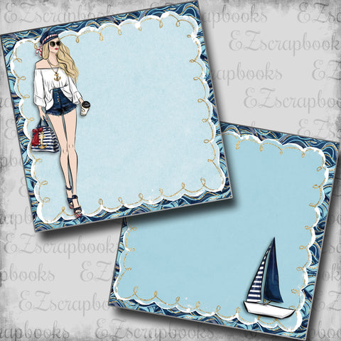 Nautical Girl Blonde NPM - 5449 - EZscrapbooks Scrapbook Layouts Beach - Tropical, cruise, Nautical, Swimming - Pool
