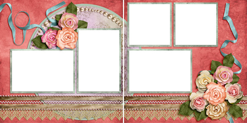Paper Roses - Digital Scrapbook Pages - INSTANT DOWNLOAD