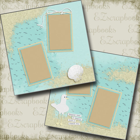 Seagull With A French Fry - 5338 - EZscrapbooks Scrapbook Layouts Beach - Tropical, Vacation