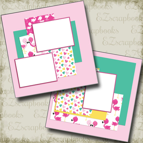 Cute Flamingos - 4880 - EZscrapbooks Scrapbook Layouts Beach - Tropical, Summer, Swimming - Pool