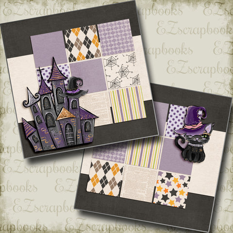 Black Cat & Castle NPM - 5055 - EZscrapbooks Scrapbook Layouts Halloween