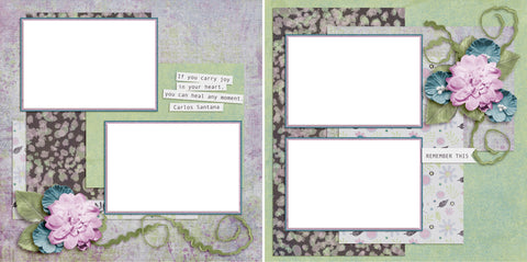 Carry Joy - Digital Scrapbook Pages - INSTANT DOWNLOAD - EZscrapbooks Scrapbook Layouts flowers, happy, joy, spring, summer