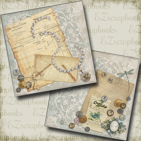 Vintage Blues NPM - 4245 - EZscrapbooks Scrapbook Layouts Grandmother, Heritage, Mother