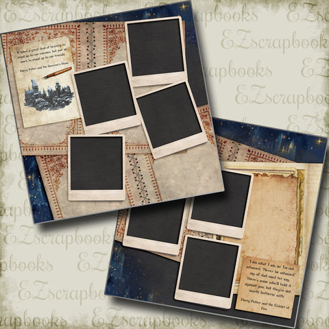 Wizard Notes - 5212 - EZscrapbooks Scrapbook Layouts Halloween, Harry Potter