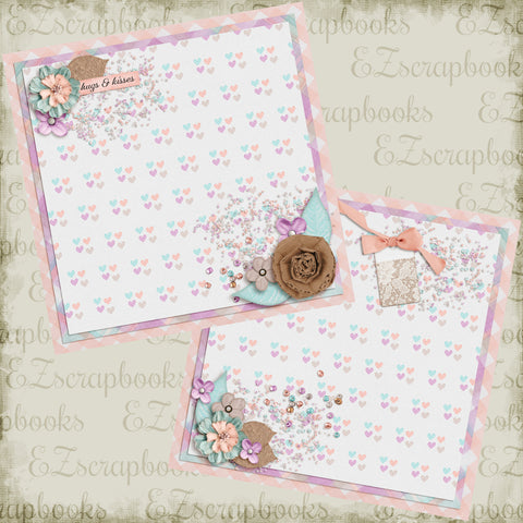 Hugs & Kisses NPM - 4959 - EZscrapbooks Scrapbook Layouts Girls, Love - Valentine