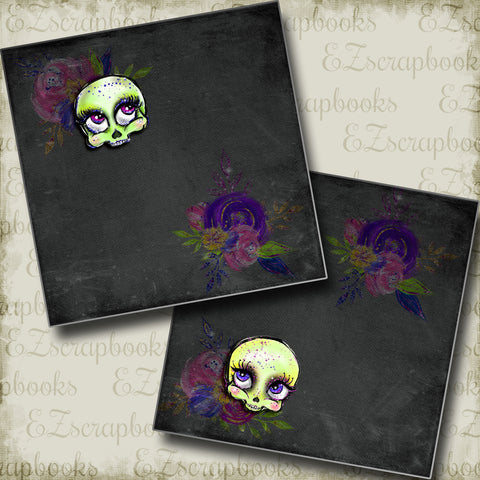 Pretty Skulls NPM - 5005 - EZscrapbooks Scrapbook Layouts Halloween