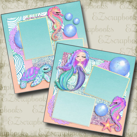 Shimmery Sea Life - 4850 - EZscrapbooks Scrapbook Layouts Beach - Tropical, Swimming - Pool