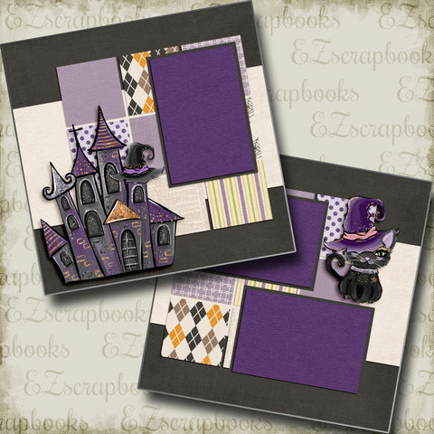 Black Cat & Castle - 5054 - EZscrapbooks Scrapbook Layouts Halloween