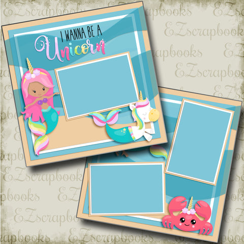 I Wanna Be A Unicorn - 4856 - EZscrapbooks Scrapbook Layouts Girls, Swimming - Pool