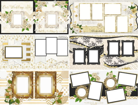 Wedding Album Set of 12 Double Page Layouts - 1044 - EZscrapbooks Scrapbook Layouts Wedding