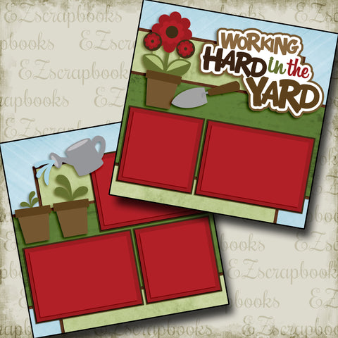 Working Hard in the Yard - 2979 - EZscrapbooks Scrapbook Layouts Farm - Garden, yardwork