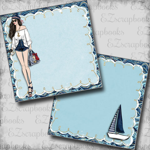 Nautical Girl Brunette Dark NPM - 5447 - EZscrapbooks Scrapbook Layouts Beach - Tropical, cruise, Nautical, Swimming - Pool