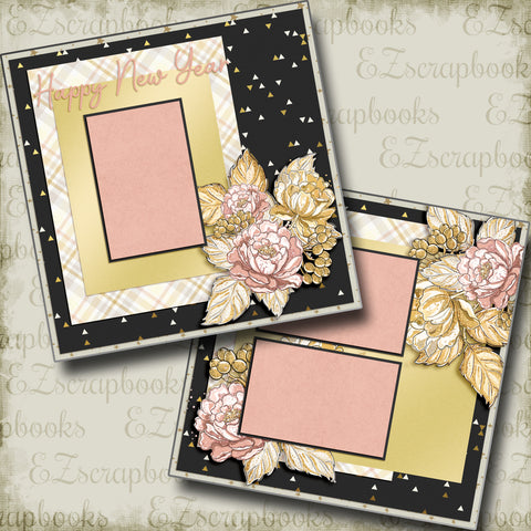Happy New Year Flowers - 5228 - EZscrapbooks Scrapbook Layouts New Year's
