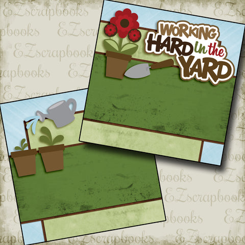 Working Hard in the Yard NPM - 2980 - EZscrapbooks Scrapbook Layouts Farm - Garden, yardwork