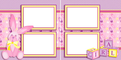 Baby Girl Bunny - Digital Scrapbook Pages - INSTANT DOWNLOAD