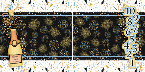 Happy New Year NPM - 2689 - EZscrapbooks Scrapbook Layouts New Year's