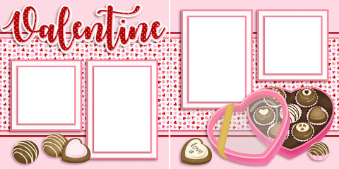 Valentine Candy - Digital Scrapbook Pages - INSTANT DOWNLOAD - EZscrapbooks Scrapbook Layouts Love - Valentine
