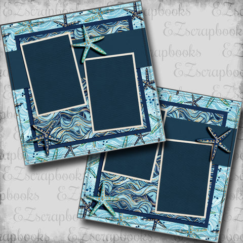 Nautical Waves - 5458 - EZscrapbooks Scrapbook Layouts Beach - Tropical, cruise, Nautical, Swimming - Pool