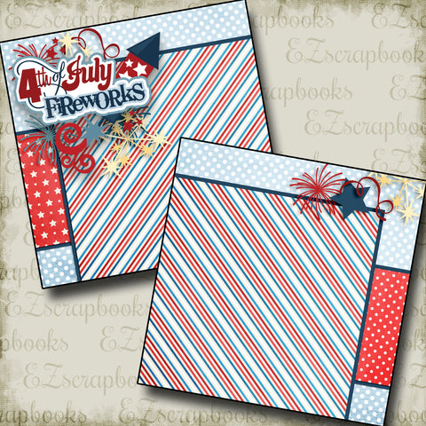 4th of July Fireworks NPM - 3205 - EZscrapbooks Scrapbook Layouts July 4th - Patriotic
