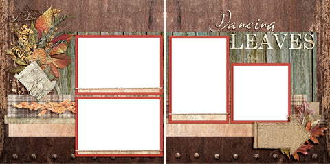 Dancing Leaves - Digital Scrapbook Pages - INSTANT DOWNLOAD