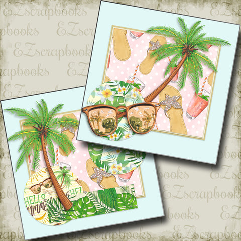 Beach Vibes NPM - 4905 - EZscrapbooks Scrapbook Layouts Beach - Tropical, Swimming - Pool