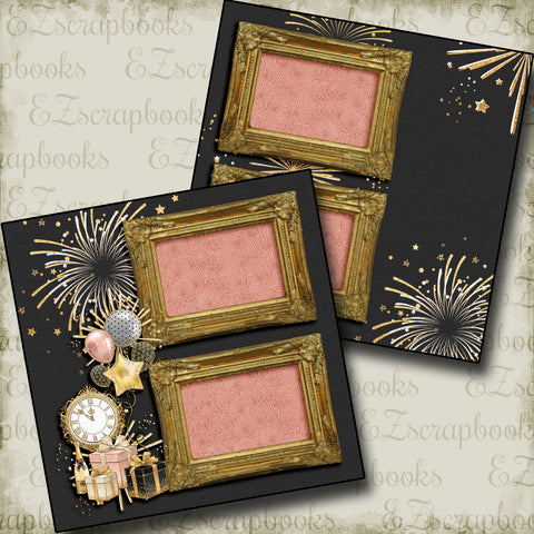 New Years Fireworks - 5220 - EZscrapbooks Scrapbook Layouts Birthday, New Year's, Other