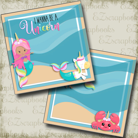 I Wanna Be A Unicorn NPM - 4857 - EZscrapbooks Scrapbook Layouts Girls, Swimming - Pool